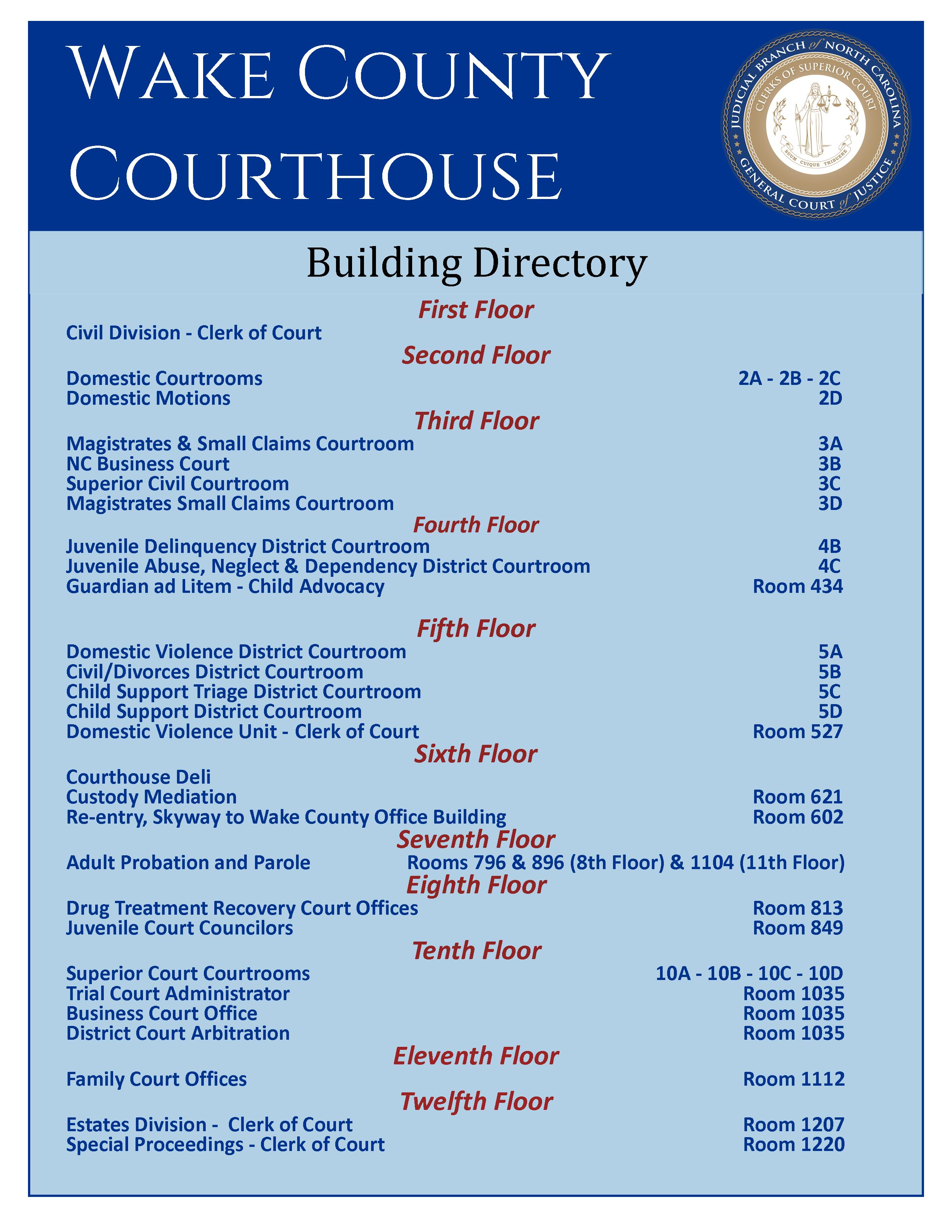 Wake County Courthouse Building Directory