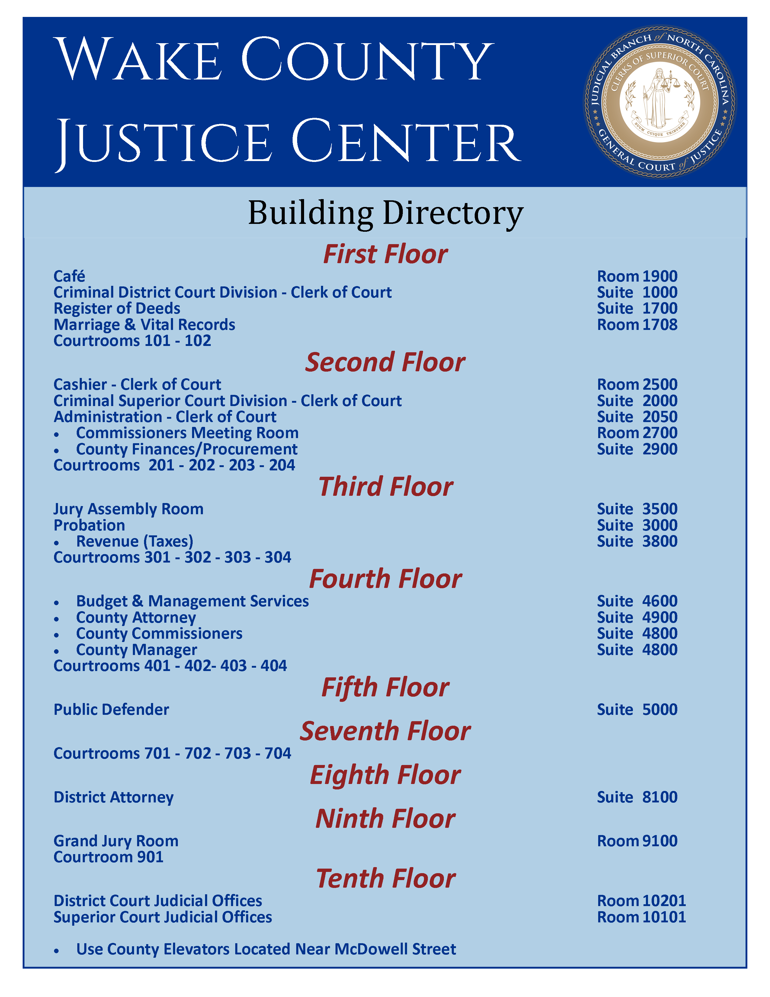 Wake County Justice Center Building Directory
