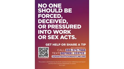 Human Trafficking Awareness Sign 8.5x11 English version