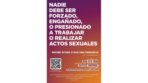 Human Trafficking Awareness Sign 11x17 Spanish version