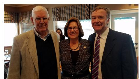 From left to right: former Senior Resident Superior Court Judge Forrest Ferrell, Court of Appeals Chief Judge Linda McGee, and former Superior Court Judge Dan Green.