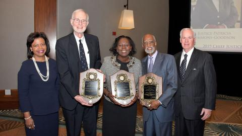 From left to right: Chief Justice Cheri Beasley, Fred Lind, Former Justice Patricia Timmons-Goodson, James Ferguson, CJCP Executive Director Mel Wright
