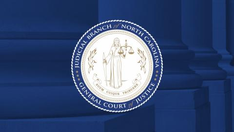 Judicial Branch seal on blue columns background