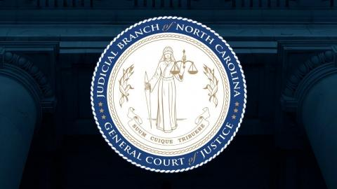Judicial Branch seal on columns blue background