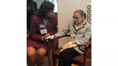 Chief Justice Cheri Beasley and Justice Ruth Bader Ginsburg