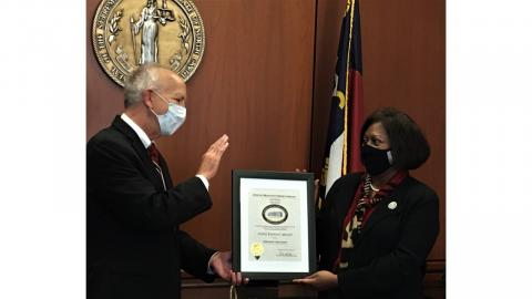Chief Justice Paul Newby Presents Retired Court of Appeals Judge Wanda Bryant with the Friend of the Court Award