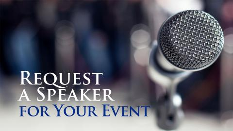 Request a speaker - Speakers Bureau - microphone