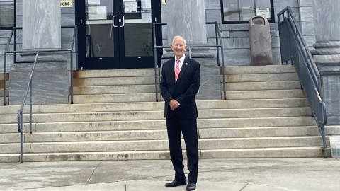 Chief Justice Paul Newby in front of the Cherokee County Courthouse in Murphy, North Carolina